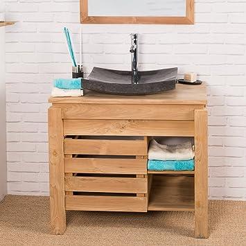 wanda collection Mueble para Cuarto de baño de Teca Zen 85 cm: Amazon.es: Hogar