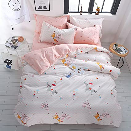 8b7f54e13d9e OTOB Kids Cartoon Unicorn Pattern Bedding Duvet Cover Queen for Boys Girls Bed  Sets