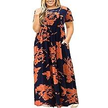 Nemidor Women Short Sleeve Loose Plain Casual Plus Size Long Maxi Dress with Pockets (OrangePrint, 20W)