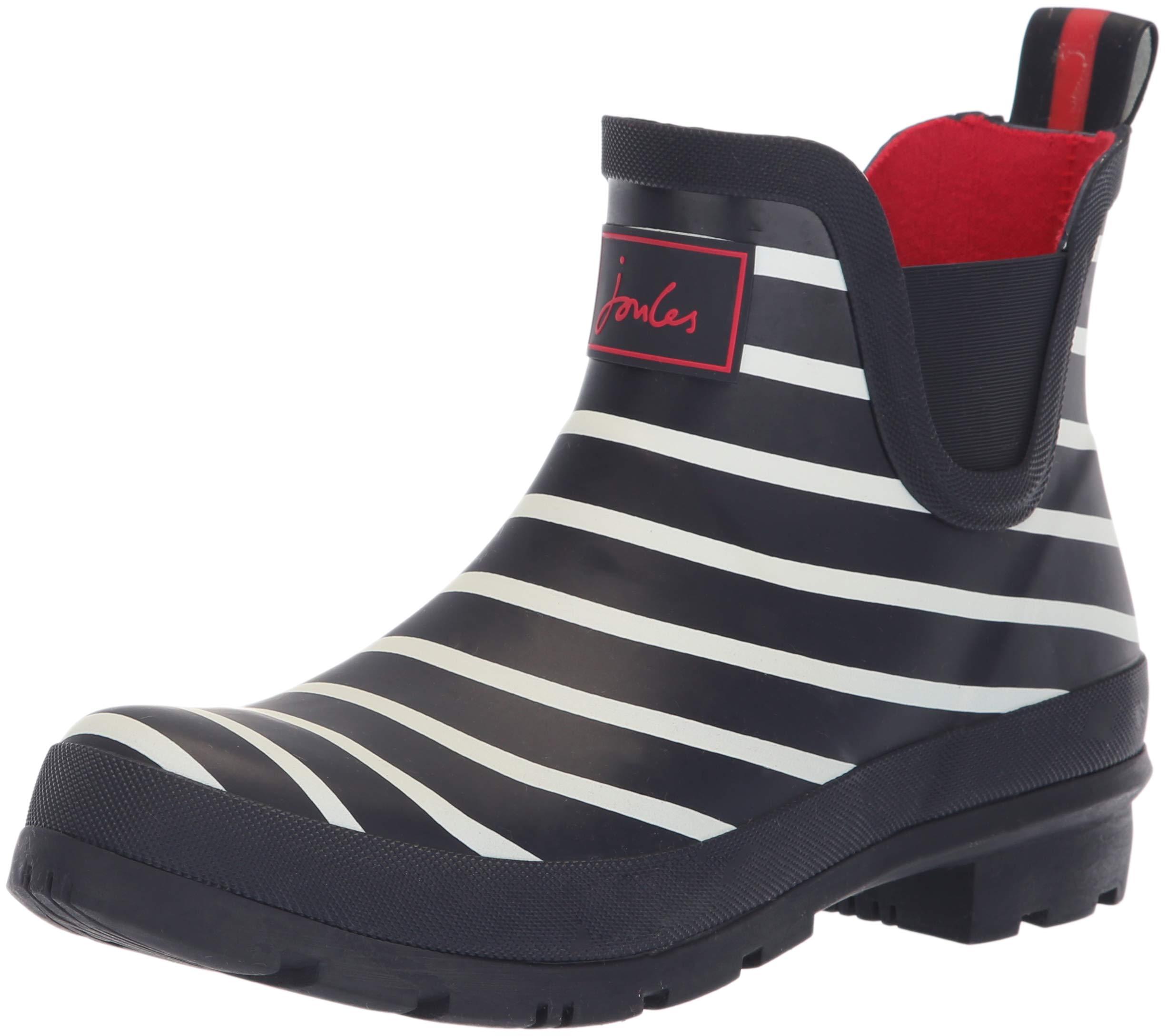 Joules Women's Wellibob Rain Boot, French Navy Stripe, 7 Medium UK (9 US)