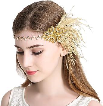 Navy Blue Gold Feather Headband 1920s Flapper Fascinator Headpiece Vintage 4832