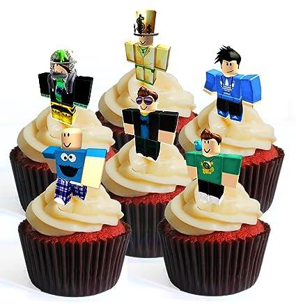 12 obleas comestibles para cupcakes de Roblox Character Boy # 4 PRECUT. Decoración para tartas