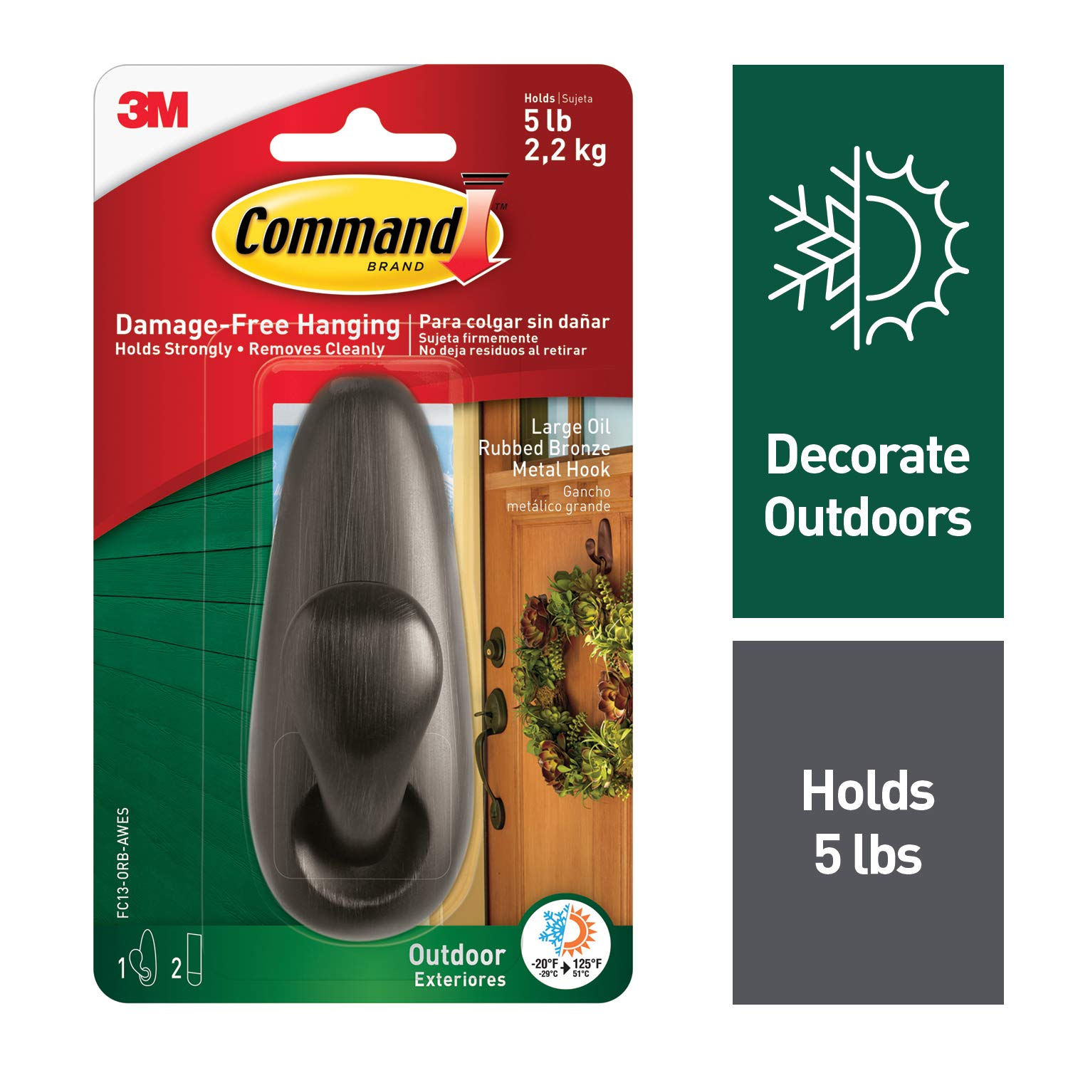 Command Outdoor Forever Classic Metal Hook Large Oil Rubbed Bronze 1 Hook with Foam Strips FC13 ORB AWES