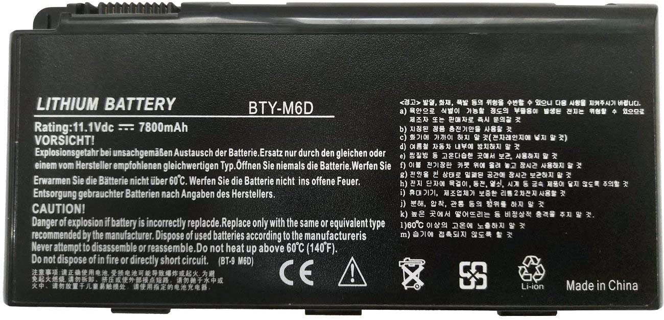 Binger New Bty-m6d 9 Cell 7800mahHigh Performance Replacement Laptop Battery Compatible With MSI GT60 GX60 GT70 GT660 GX660 GT680 GX680 GT780 GT780R GT663R GT660R GT680DXR GT680DX Series