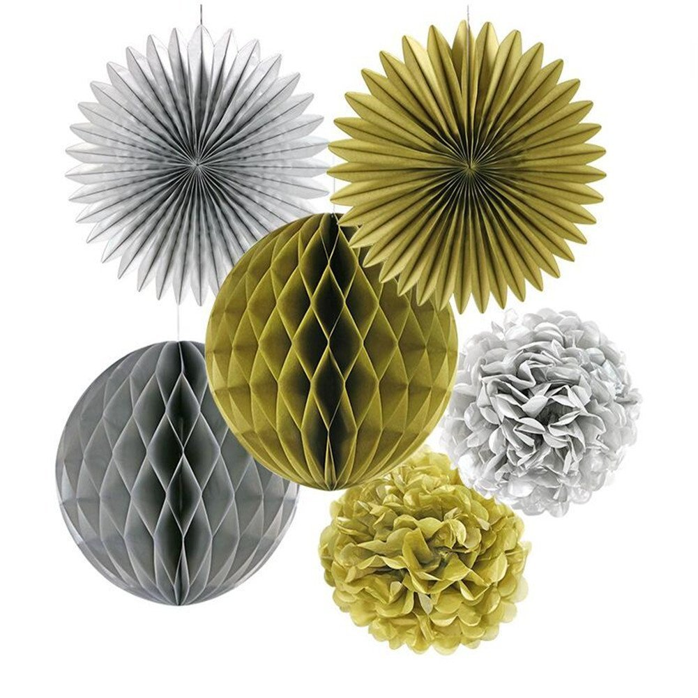 6pcs/set 8/10/12 inch Party Decorative Props Set, Tissue Paper Flower Fan, Honeycomb Ball ,Crafts Pom Poms Flower for Festival Celebration Wedding Birthday Baby Shower Party Supplies - Gold/Silver VALINK