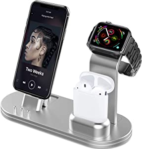 OLEBR Charging Stand Compatible with iWatch 6 and SE Watch Charging Stand for AirPods, iWatch Series 6/SE/5/4/3/2/1,iPhone 11/11 Pro/11 Pro Max/Xs/X Max/XR/X/8/8Plus/7/7 Plus /6S /6S Plus-Silver