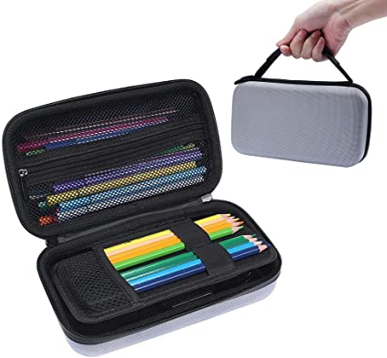 Estuche de 80 ranuras para lápices de Livedealing, con cremallera, para instrumentos Texas TI-84/Plus CE Prismacolor, lapiceros de color, bolígrafo de color, banco de energía para brochas de maquillaje, color plata: Amazon.es: