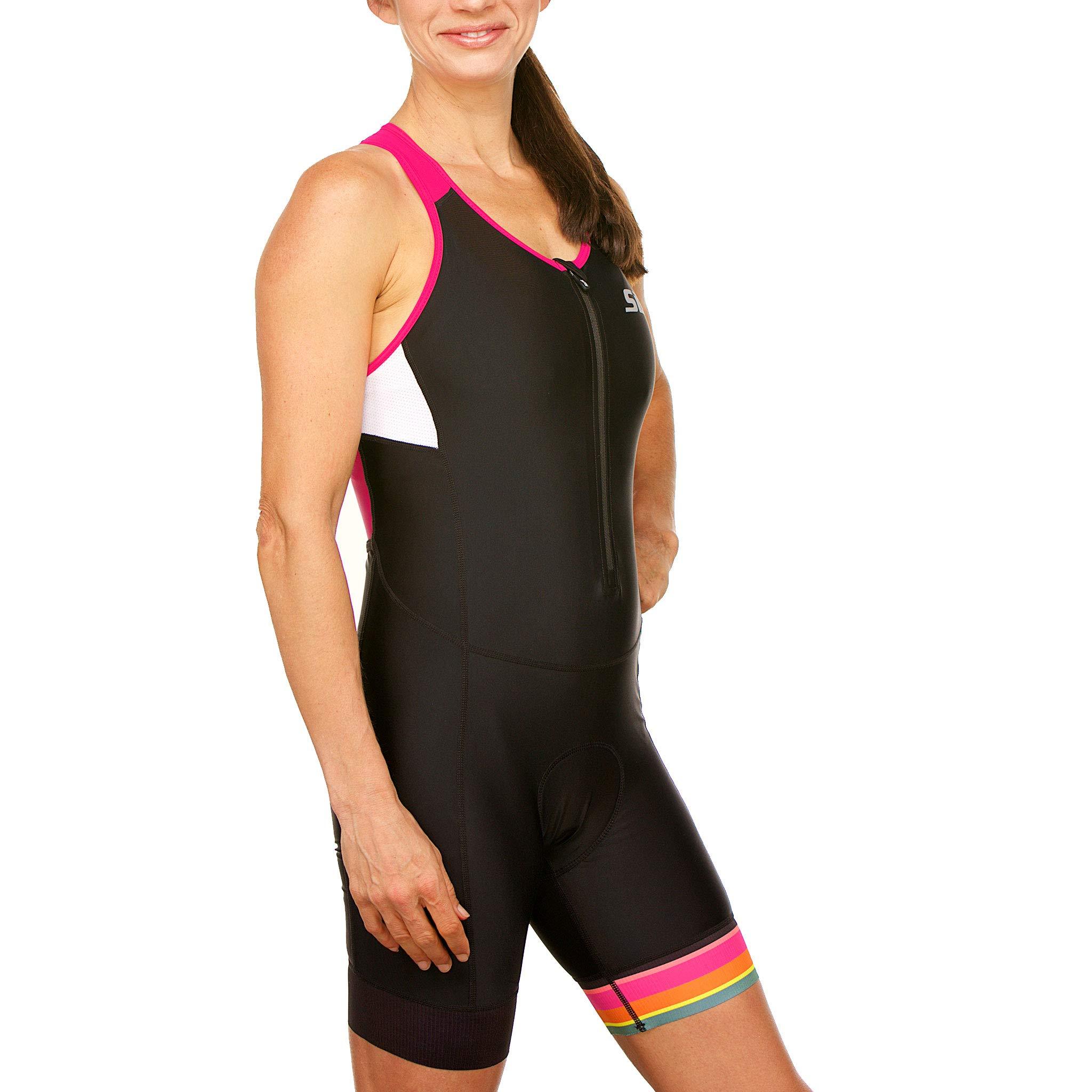 SLS3 Women`s Triathlon Tri Race Suit FRT | Womens Trisuit | Back Pocket Triathlon Suits | Anti-Friction Seams | German Designed (Black/Bright Rose, L) by SLS3 (Image #4)