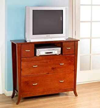 Solid Wood Media Chest Drawers Tv Stand Fully Assembled