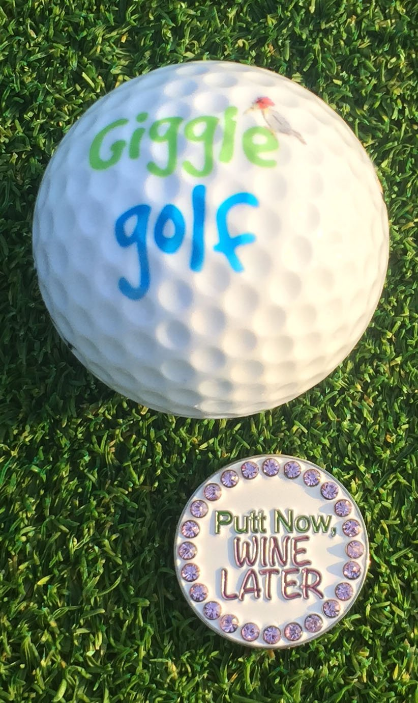 Giggle Golf Women's Golf Sock Pack - Pair Of Putt Now Wine Later Socks & A Bling Ball Marker With Hat Clip