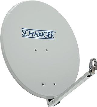 SCHWAIGER -210- Antena satelital | antena satelital con brazo de soporte LNB y montaje en el mástil | antena satelital de aluminio | gris claro | 74,5 ...