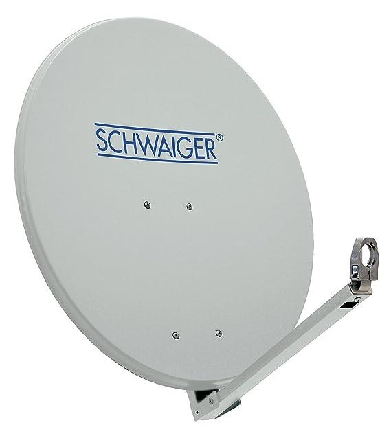 SCHWAIGER -210- Satellitenschüssel, Sat Antenne mit LNB Tragarm und Masthalterung, Sat-Schüssel aus Aluminium, Hellgrau, 74,5