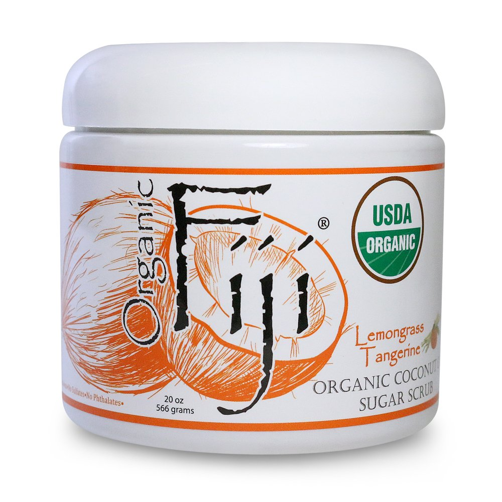 Organic Fiji LEMONGRASS TANGERINE Sugar Scrub 20-Ounces for Face & Body