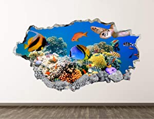 "West Mountain Aquarium Wall Decal Art Decor 3D Smashed Ocean Living Room Sticker Mural Home Gift BL08 (22"" W x14 H)"