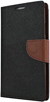 Avzax Luxury Magnetic Lock Diary Wallet Style Flip Cover Case for Lava X19   Brown Cases   Covers