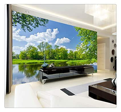 Custom Wall Mural Wall Painting 3d Blue Sky White Clouds Nature