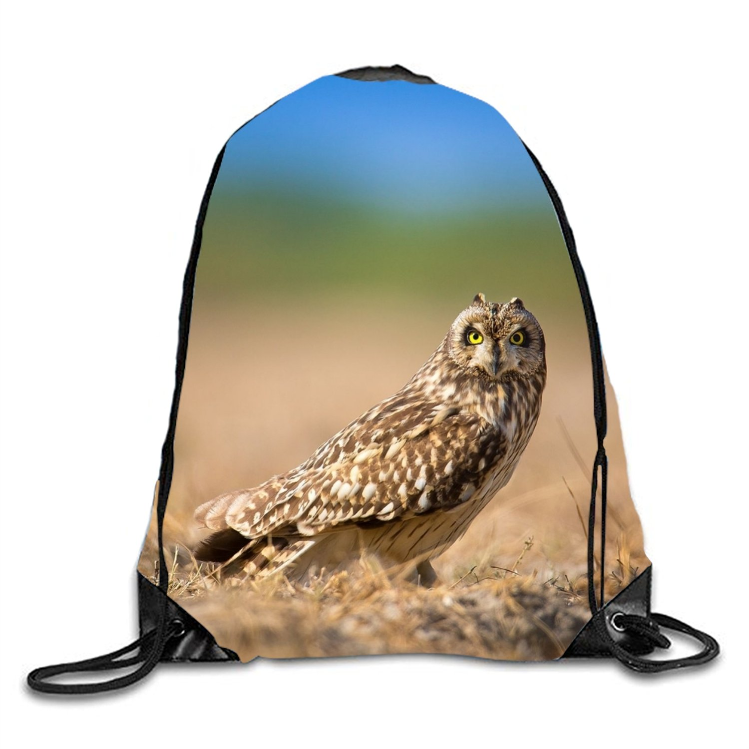 Short Eared Owl 3D Print Drawstring Backpack Sport Gym Bag Daypackon by phjyjy (Image #1)