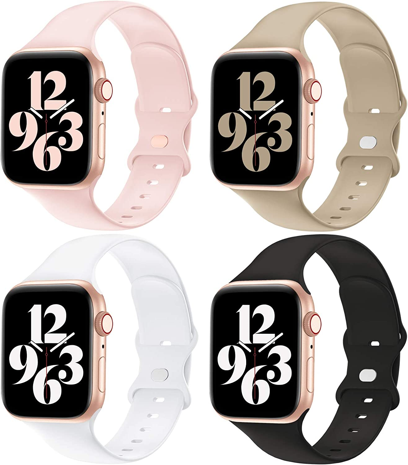 YAXIN Compatible with Apple Watch Band 38MM 40MM 42MM 44MM Women and Men,Soft Silicone Replacement Strap Band for iWatch Series 6 5 4 3 2 1 SE