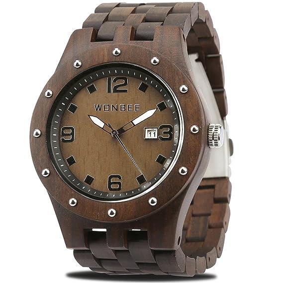 54deae790d9f WONBEE Reloj De Madera para Hombres-Artesanía Artesanal Madera Relojes-Madera  Reloj-Madera Bisel-MRP Serie Ebony  Amazon.es  Relojes
