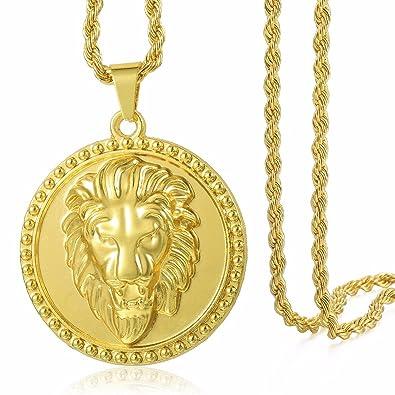 190c586d839 Tête de Lion Sculpté Ronde Pendentif Collier Hommes Chaîne Womens Jaune  Plaqué Or Creux Retour Twisted
