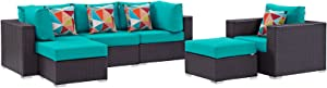 Modway Convene Wicker Rattan 6-pc Outdoor Patio Sectional Sofa Furniture Set in Espresso Turquoise