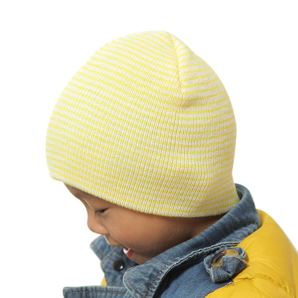 1346da6baa2 Amazon.com   Challyhope Toddler Baby Beanies Hat for Baby Boys Girls Cotton  Knit Kids Soft Cute Cap Lovely Infant Beanies(Yellow