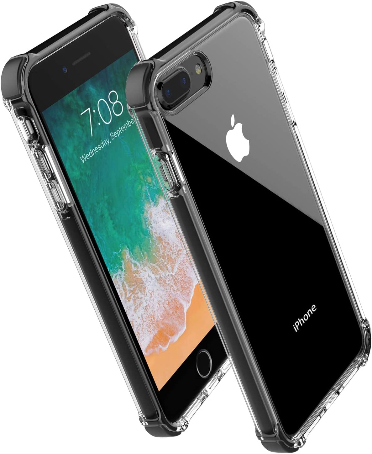 Amazon Com For Iphone 8 Plus Case Iphone 7 Plus Case Noii Clear Hybrid Drop Protection Case Tpe Super Rubber Bumper Shockproof Case Upgraded Reinforced Edges Technology Heavy Duty Protective Cover Black