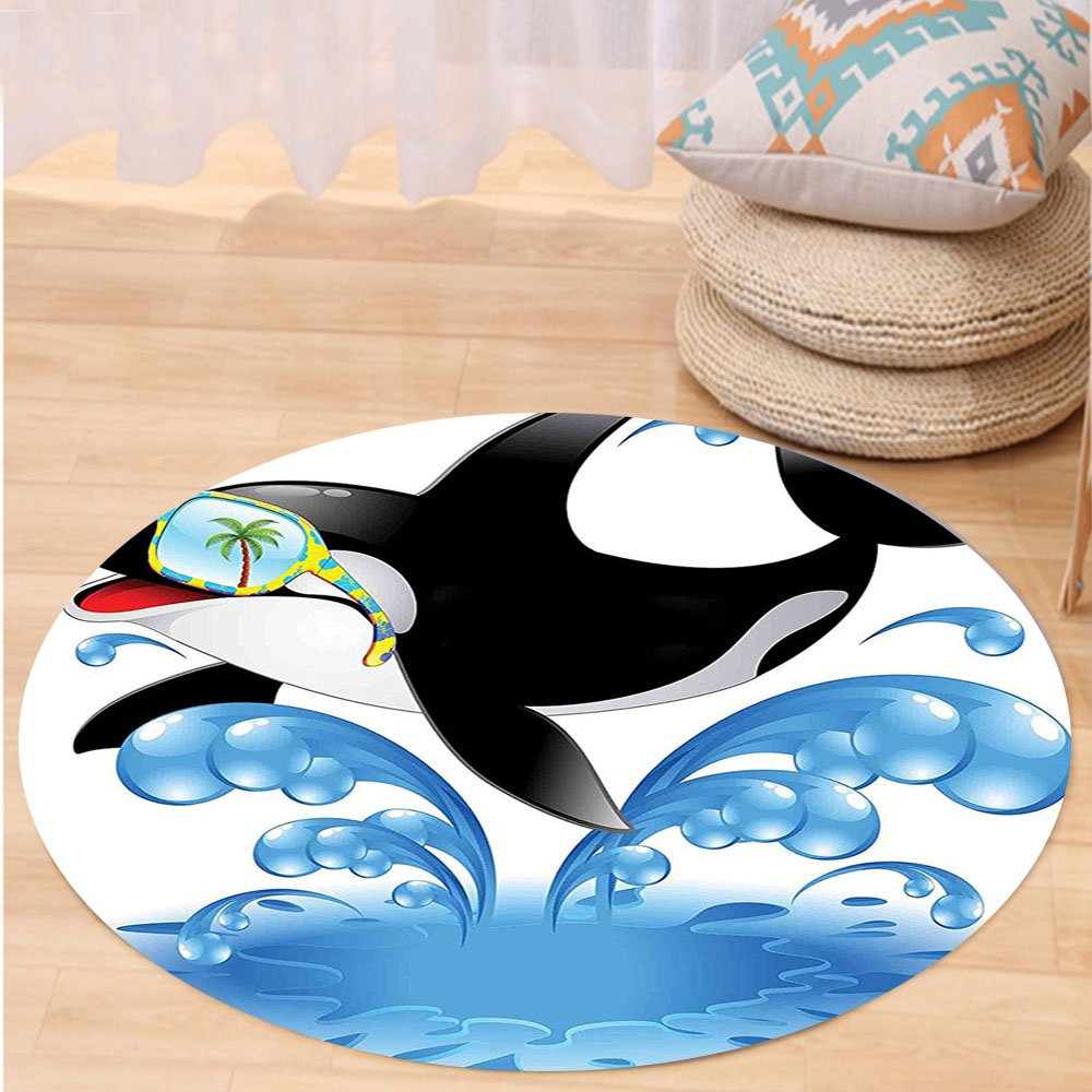 VROSELV Custom carpetFunny Decor Summer Holiday Ocean Cute Jumping Killer Whale With Sunglasses Cartoon Animal Love Theme Bedroom Living Room Dorm Decor Black Blue Round 72 inches