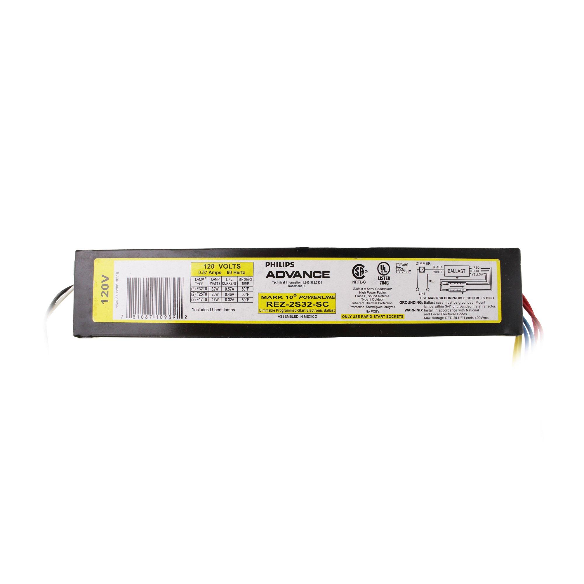 Philips Advance REZ2S32SC35I (2) 32 Watt F32T8 Lamp Dimmable Fluorescent Ballast 120 Volt Mark 10 Powerline