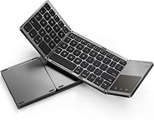 Foldable Bluetooth Keyboard for iPad (iOS/Mac OS) - Jelly Comb Rechargeable Slim Wireless Portable Keyboard with Touchpad for iPad Pro, iPad Air, iPad 10.2 (8th/7th), iPad Mini, iPhone and More