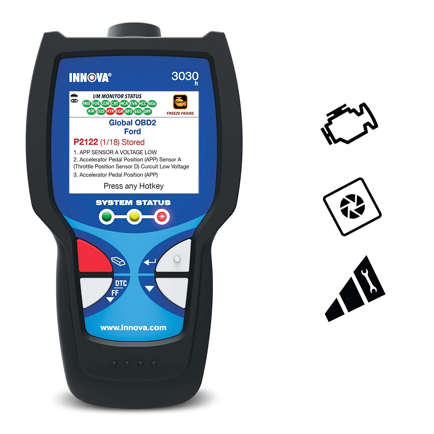 Innova 3030h Diagnostic Code Reader/Scan Tool with Freeze Frame for OBD2 Vehicles