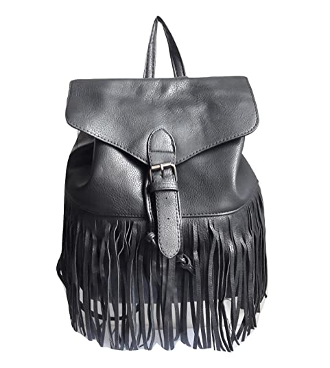 83a64444dd NoBrand/Generico zaino donna ecopelle nero zainetto frange borsa backpack  vintage pelle sfrangiato casual
