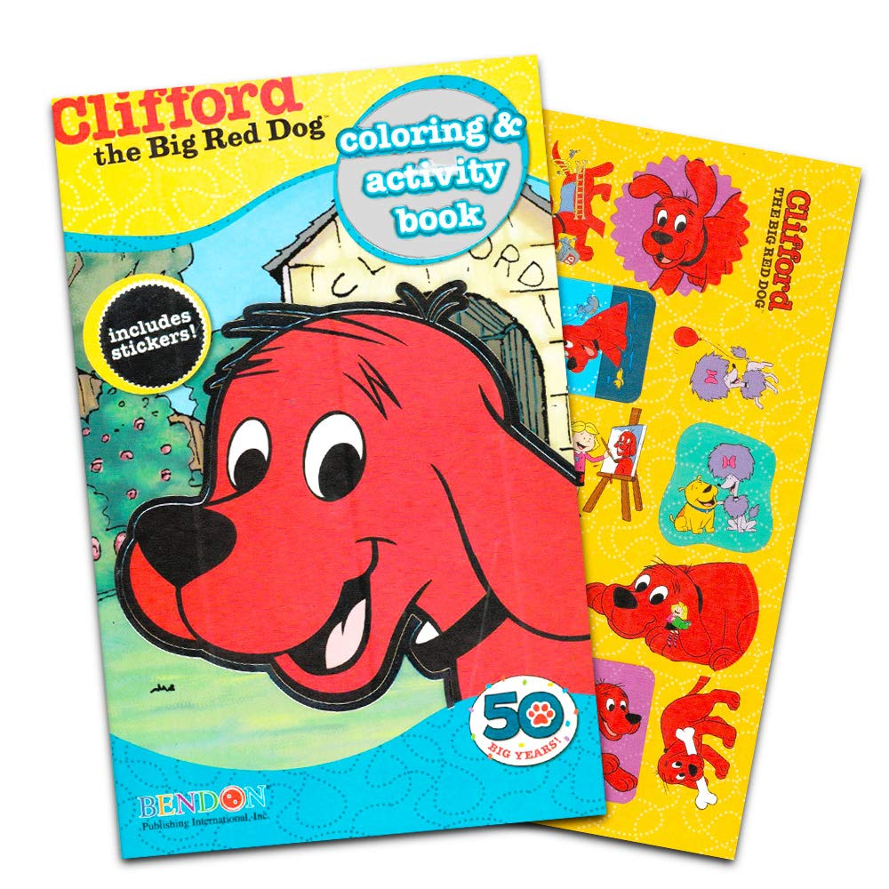 160 Pages, 5x8 Format Clifford the Big Red Dog Coloring Book with Stickers