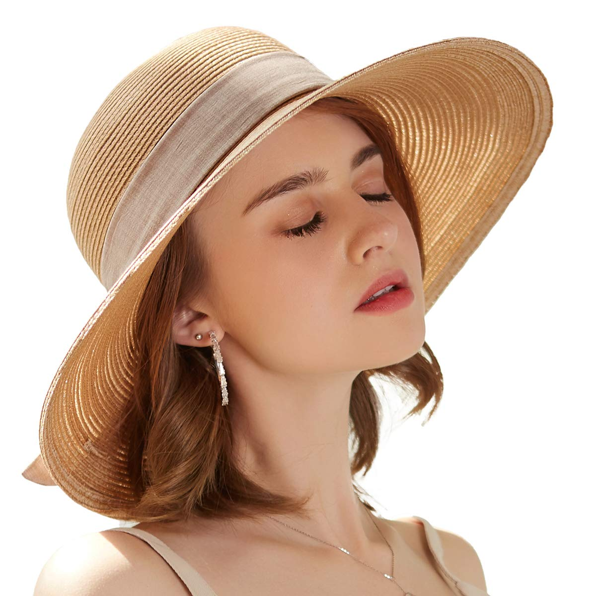 SOMALER Women Floppy Sun Hat Summer Wide Brim Beach Cap Packable Cotton Straw Hat for Travel by SOMALER (Image #3)