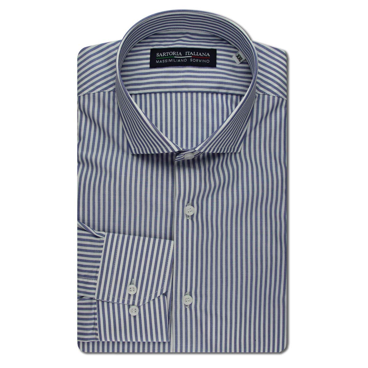 da96c6b0d9fb SARTORIA ITALIANA MASSIMILIANO SORVINO Camicia Regular Fit con Pinces rigo  Blu Avion Made in Italy  Amazon.it  Abbigliamento