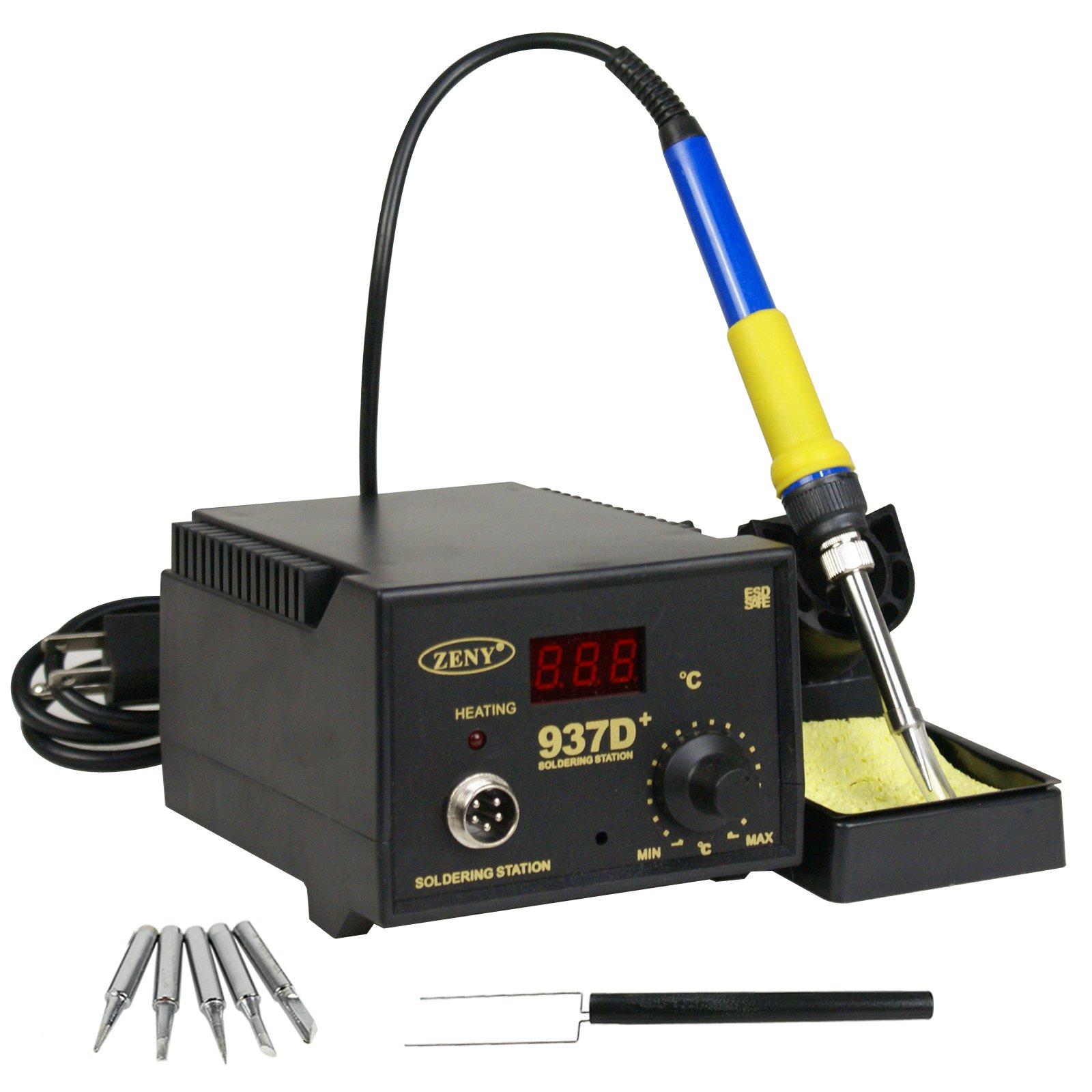 ZENY 937D+ SMD Soldering Hot Iron Station Digital Adjustable w/ 5 Tips & Japan Heater