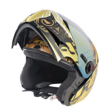 90962397 Steelbird A-1 Ares Glossy Black with Golden Visor,600mm: Amazon.in ...