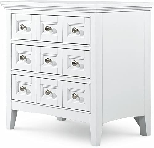 MagnussenB1475 Kentwood Painted White Finish with Brushed Nickel Hardware Wood Nightstand