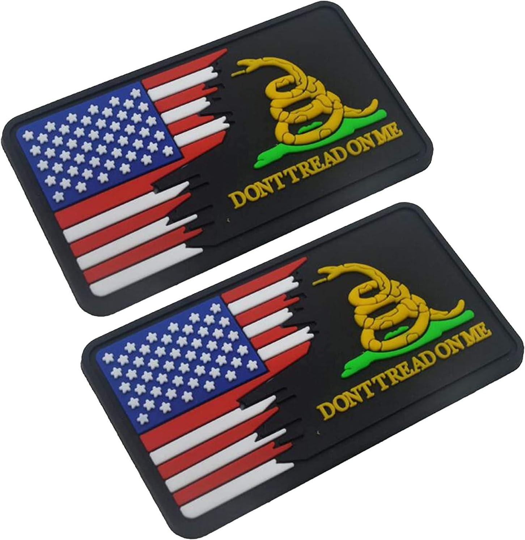 Parche de velcro 3D de PVC con texto en inglés «Dont Tread On Me» y bandera de Estados Unidos, táctico militar, de 3.15 x 1.97 pulgadas, 2 unidades: Amazon.es: Hogar