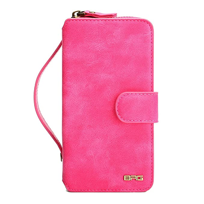 low priced 73149 834e8 Galaxy S7 Edge Wallet Case, SUPZY Leather Detachable Magnetic Flip Many  Card Slots Holder Wrist Strap Purse Removable Slim Protective Cover for ...