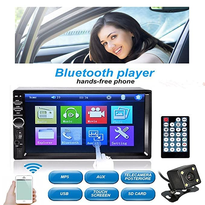 """49 opinioni per SOLMORE Autoradio Bluetooth 2 din con schermo touchscreen 7"""", radio Fm, lettore"""