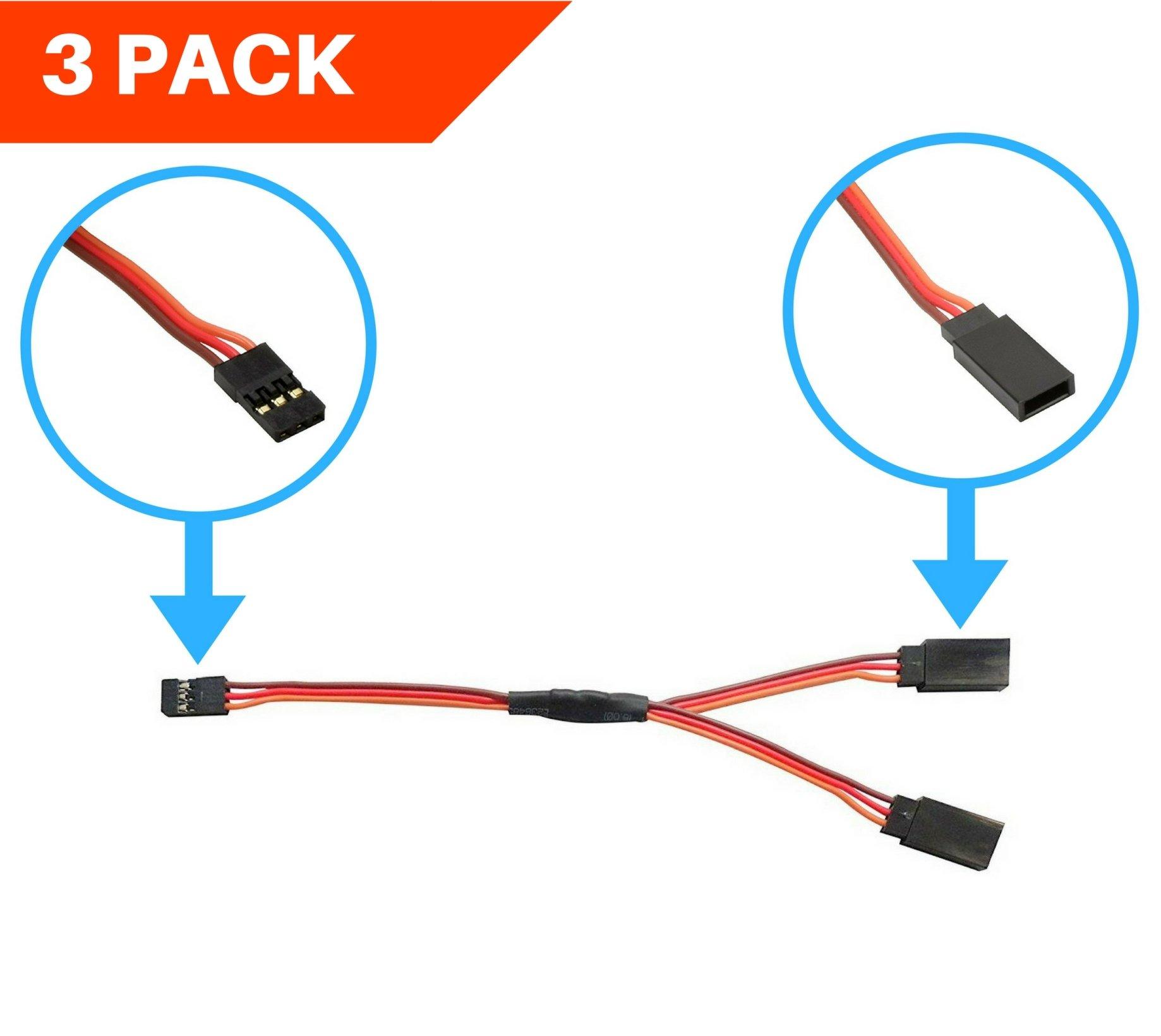 3 PACK 6  150mm JR  Spektrum  Hitec Style Servo Y Harness Apex RC Product