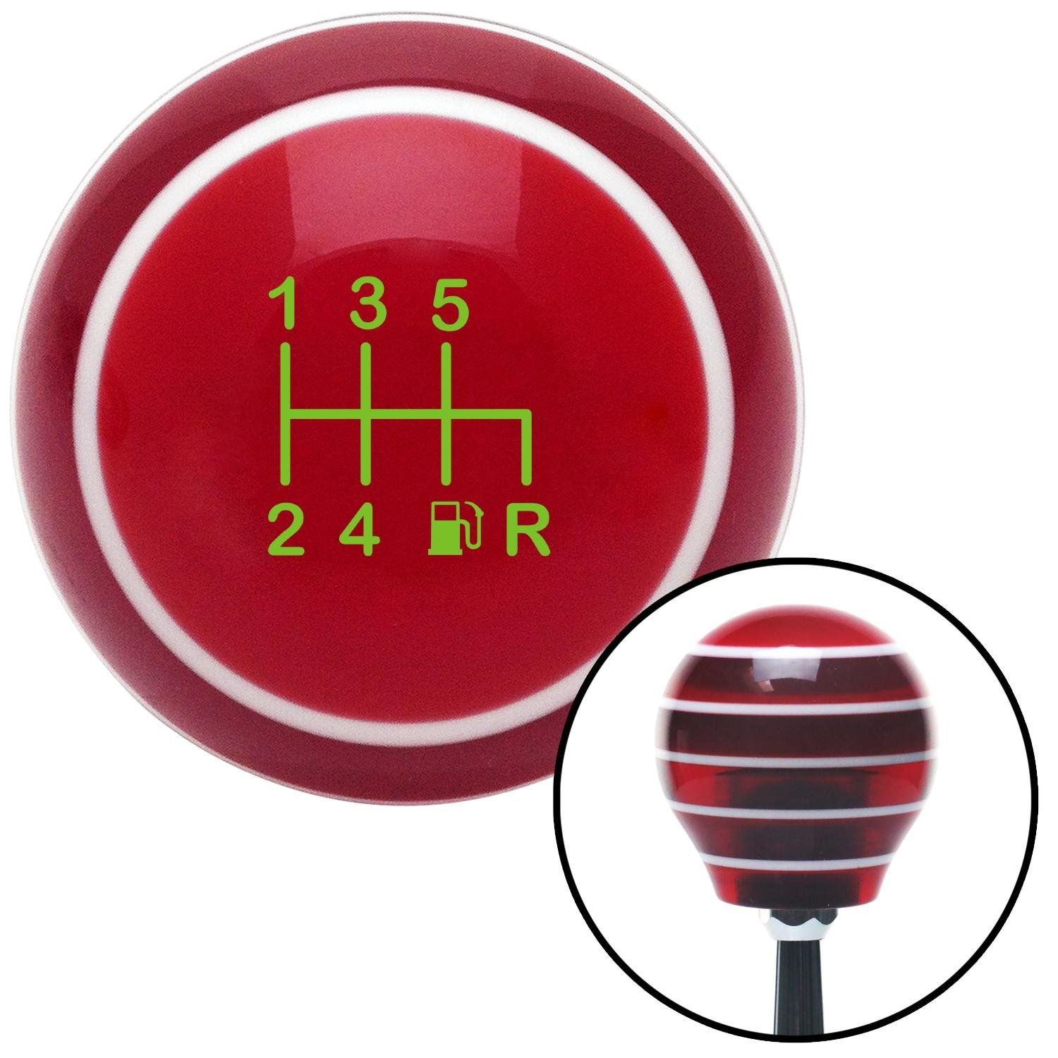 Green 6 Speed Shift Pattern - Gas 41 Red Stripe with M16 x 1.5 Insert American Shifter 274399 Shift Knob