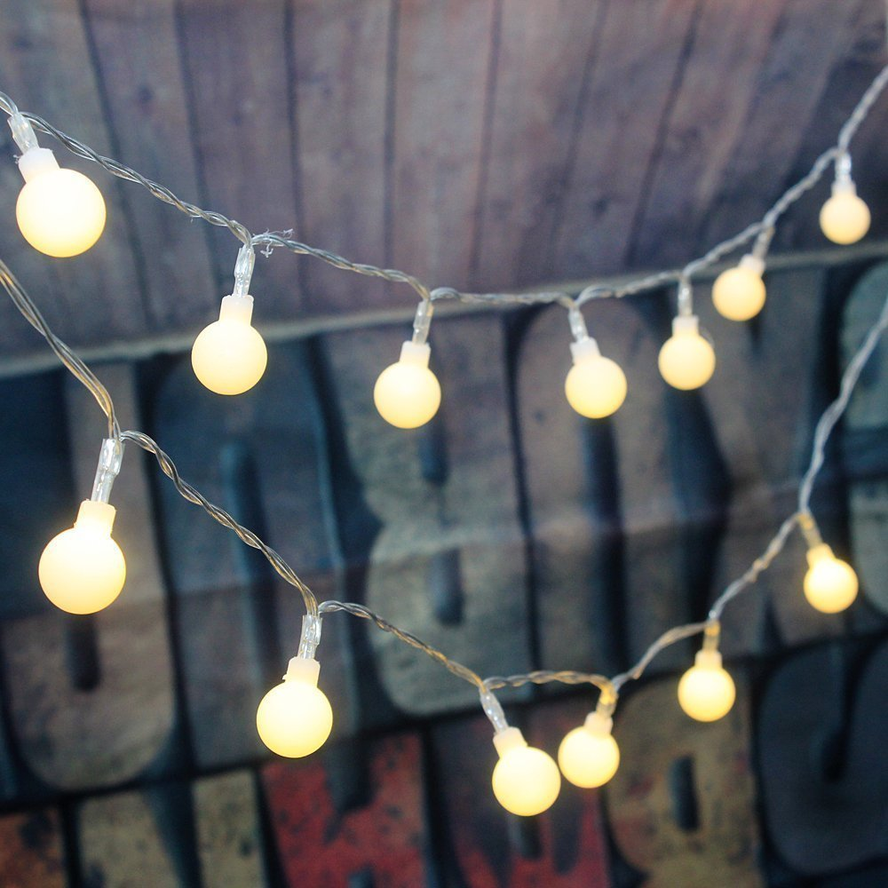 Dimmable Globe String lights,Dreamworth 16.4 Feet 50 LED Outdoor Globe String Lights 8 Modes Battery Operated Frosted White Ball Fairy Light Warm White