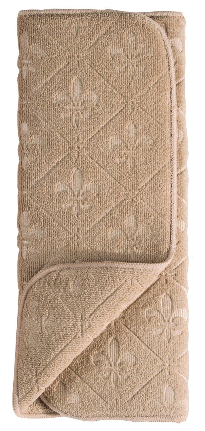 Kay Dee Designs Microfiber Embossed Countertop Drying Mat, 16 by 20-Inch, Taupe Fleur De Lies