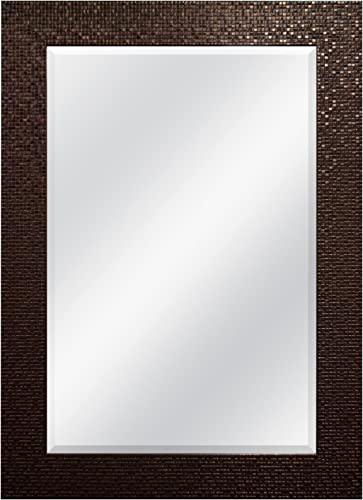 MCS 24×36 Inch Embossed Tile Wall Mirror, 32×44 Inch Overall Size, Bronze