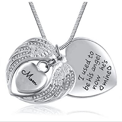 Beydodo Stainless Steel Memorial Necklace UrnEngravedAsh Necklace Urn Wings Heart Cremation Ash Necklace iJ4wOClD