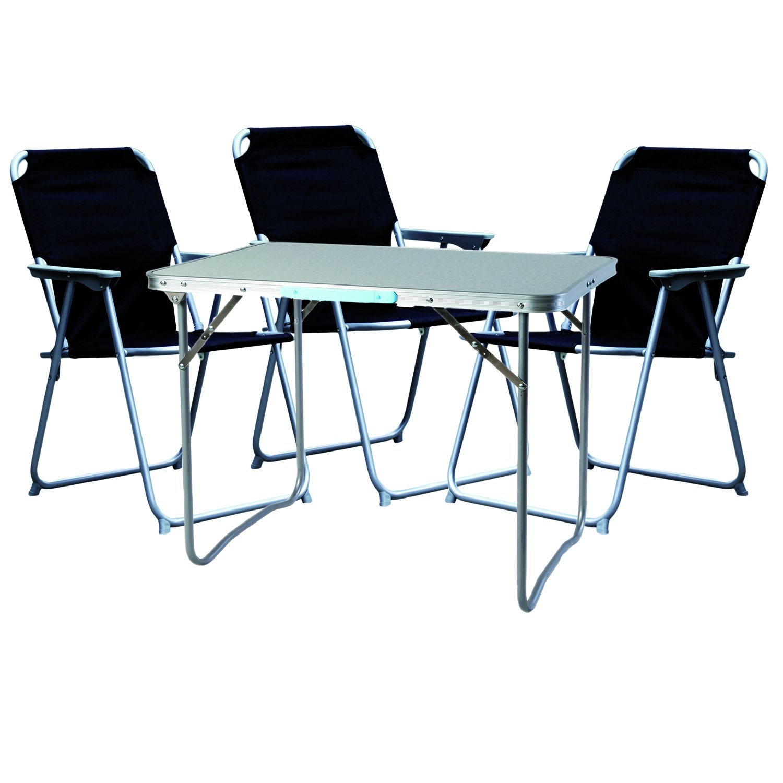 prezzi eccellenti Mojawo  4 Pezzi. Set di mobili mobili mobili da Campeggio in Alluminio, 80 x 60 x 68 cm, 1 Tavolo da Campeggio con Maniglia e 3 sedie da Campeggio, Nero  fantastica qualità