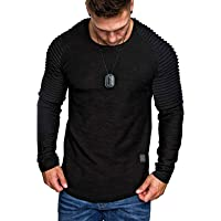 Rela Bota Mens Fashion Sweatshirt Athletic Solid Color Lightweight Long Sleeve Pleated Stitching Pullover