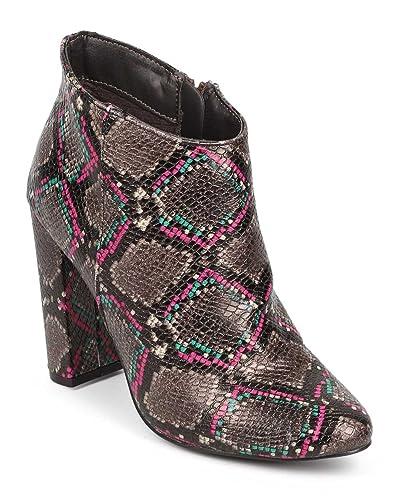 DEV Snakeskin Women's Breckelle Almond Toe Block Chunky Heel Tailored Ankle Bootie Shoes